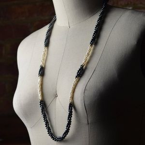 Jewelry - 1950s Freshwater Pearls & Black Onyx Necklace